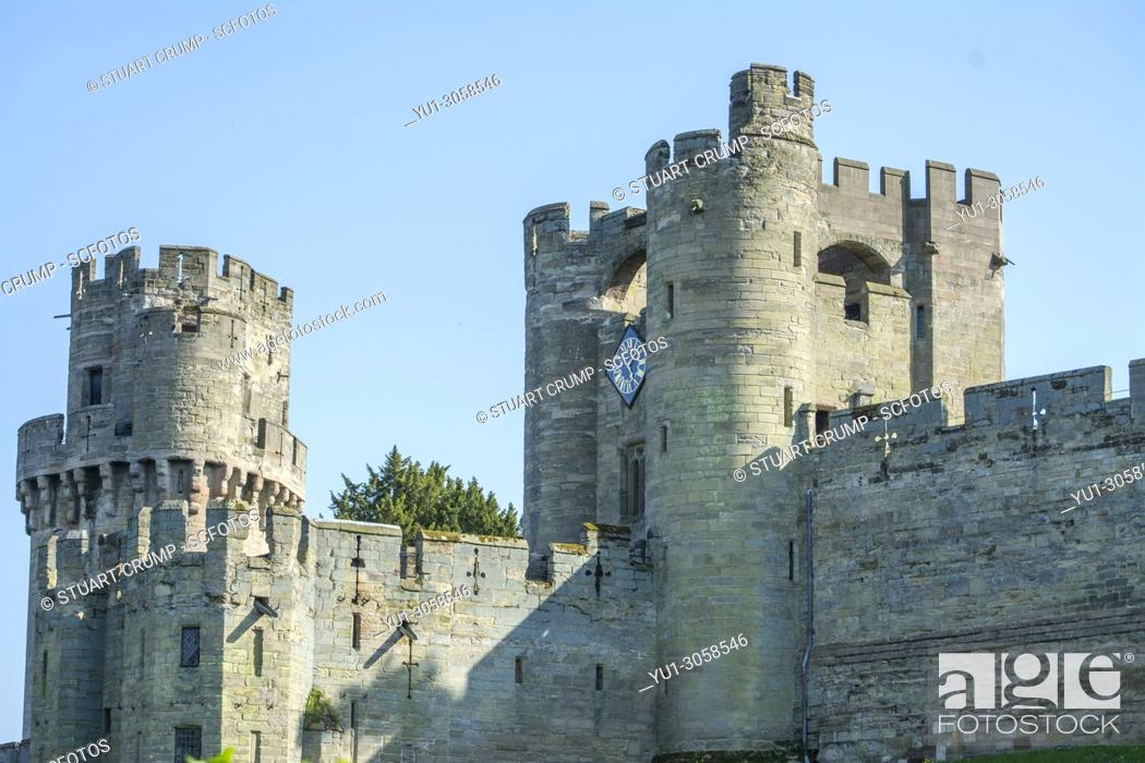 Stock Photo: Towers & Ramparts of Warwick Castle at Warwick Castle, Warwickshire, England.