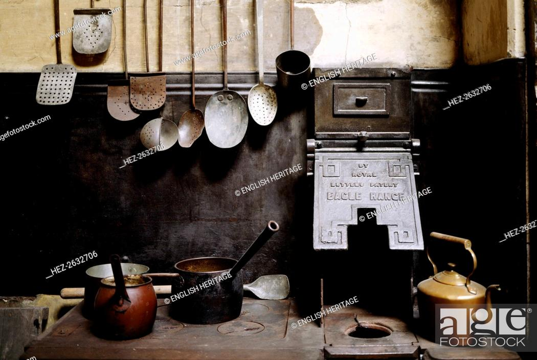 View of the kitchen with utensils, Brodsworth Hall, South Yorkshire