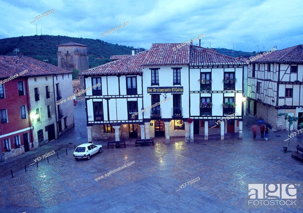Stock Photo: Doña Urraca square at night, Covarrubias, Burgos province, Castilla-Leon, Spain.