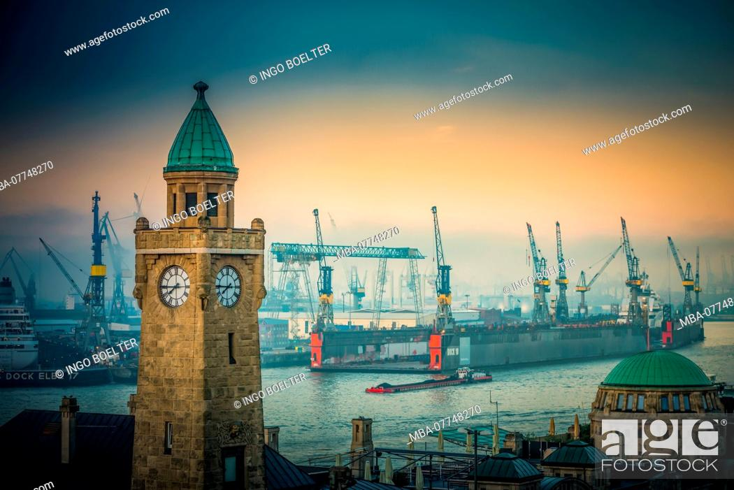 Stock Photo: Germany, Hamburg, the Elbe, harbour, St. Pauli, landing stages, level tower.