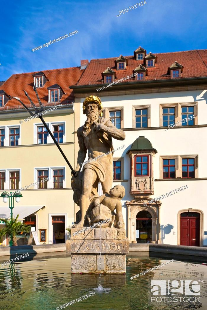 Stock Photo: Neptune fountain in the market square, Weimar.