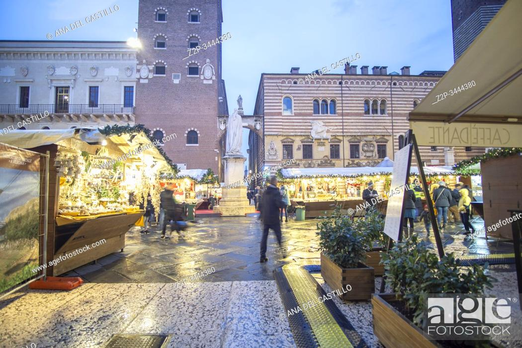 Stock Photo: Verona Veneto on November 23, 2019. Christmas market in the Piazza dei Signori.