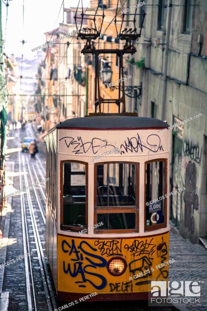 Bica Elevator In Lisbon S Bairro Alto Portugal Europe Stock Photo