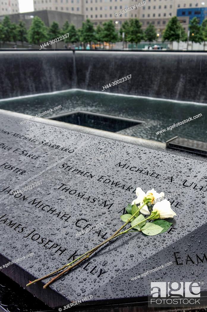 Stock Photo: 911 World Trade Center Memorial , Ground Zero, Manhattan, New York.