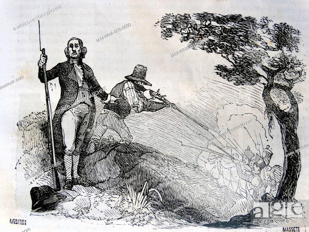 Stock Photo: Jose Gabriel de Silva Bazan and-Waldstein (Madrid, 1772 -. Ib November 4, 1839), X Marquess of Santa Cruz fires on French Soldiers during the Peninsula war 1808.
