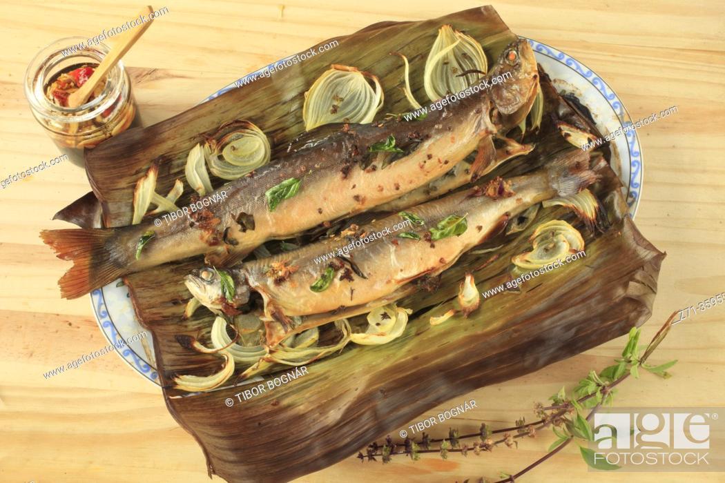 Stock Photo: Arctic char, fish, oven baked, thai basil, onions, banana leaf, thai style dipping sauce, .