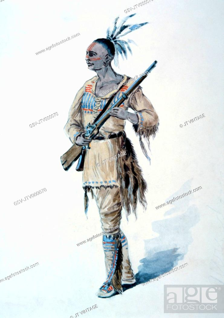 Stock Photo: Mohican Warrior, Watercolor Painting by William L Wells for the Columbia Exposition Pageant, 1892.