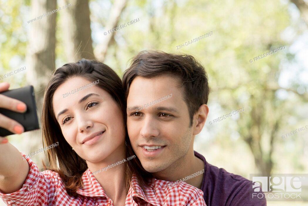 Stock Photo: Couple posing for selfie.