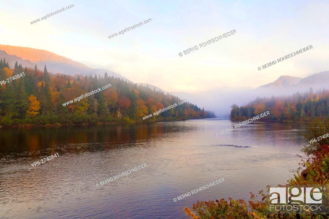 Imagen: river and autumnal forest with fog, Jacques-Cartier National Park, province Quebec, Canada.