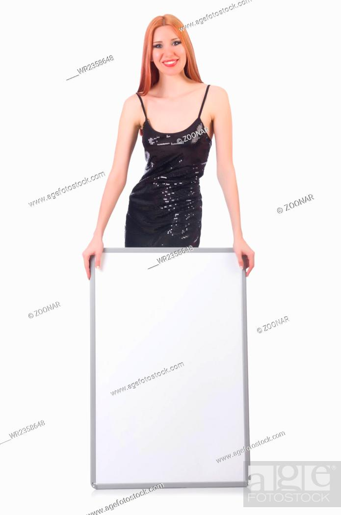 Imagen: Young tall woman holding blank board isolated on white.