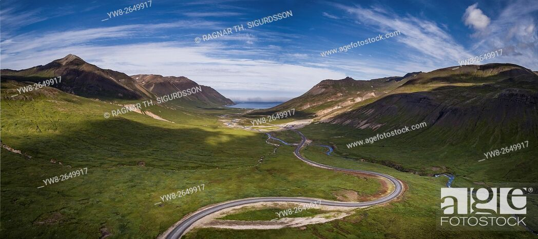 Stock Photo: Mountain pass road, Njardvikurskridur, on the way to Borgarfjordur Eystri, Eastern, Iceland.