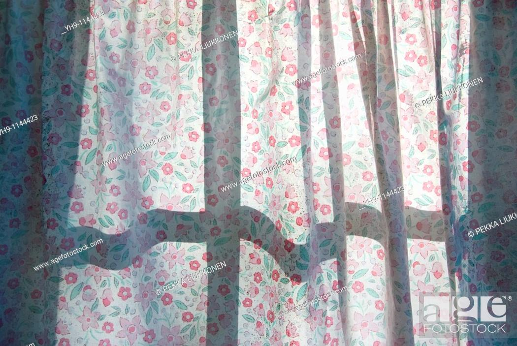Stock Photo: Curtain with flower pattern.