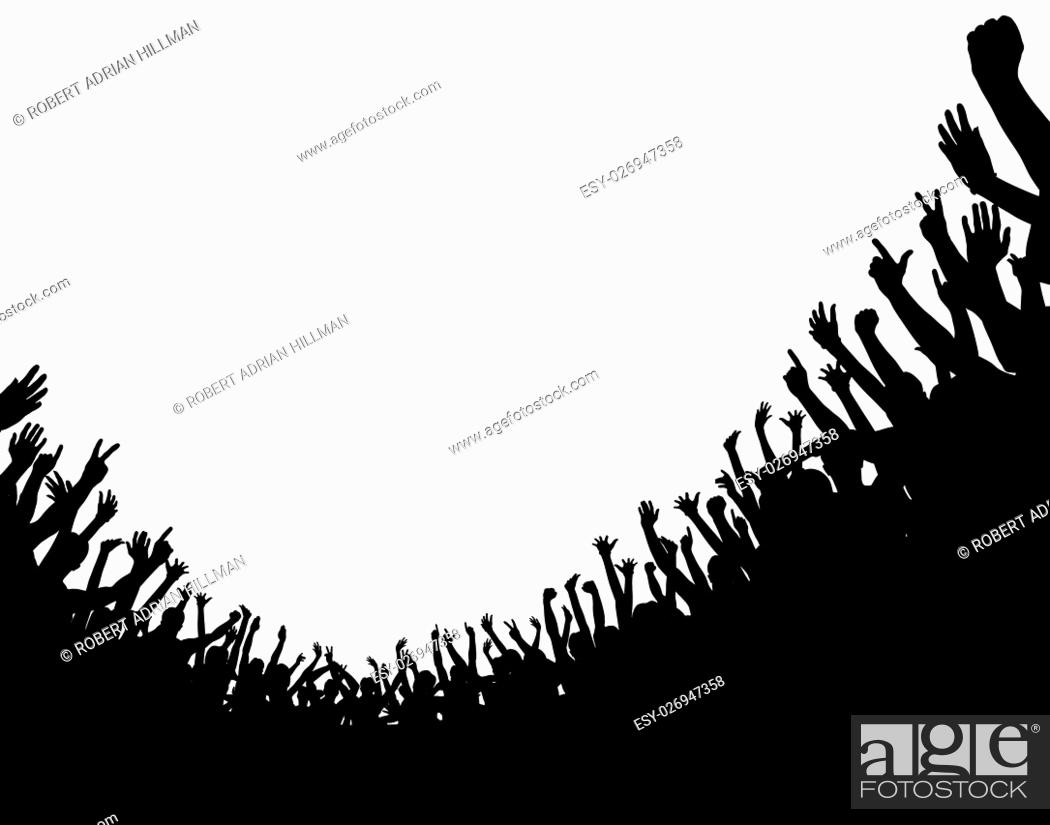Vector: Editable vector illustration of a curved crowd silhouette with copy space.