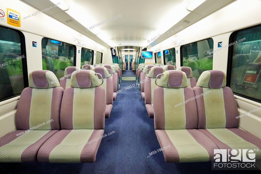 Stock Photo: Interior view of a MTR wagon. Hong Kong.