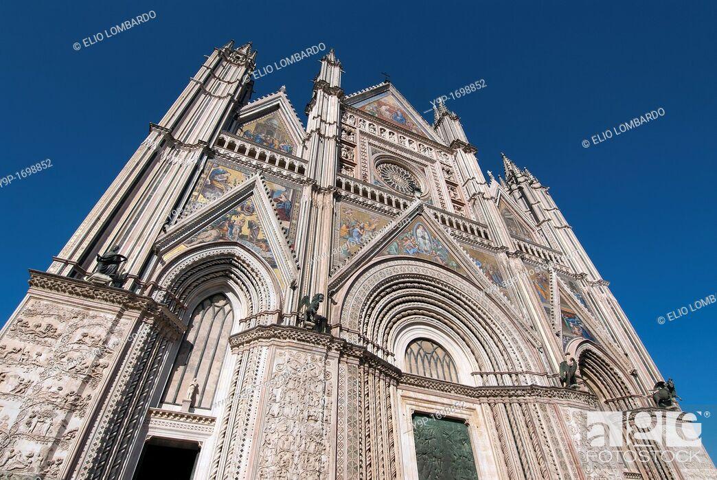 Stock Photo: Orvieto Cathedral  Orvieto  Terni Province  Umbria  Italy.