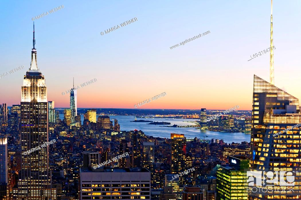 Stock Photo: View from Rockefeller Center on Manhattan with Empire State Building, One World Trade Center and Bank of America, New York, USA.