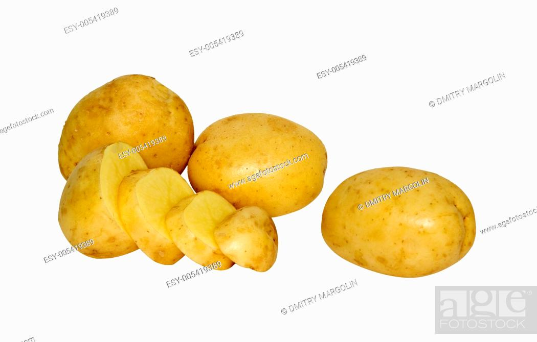 Stock Photo: Potatoes and section isolated on white background.