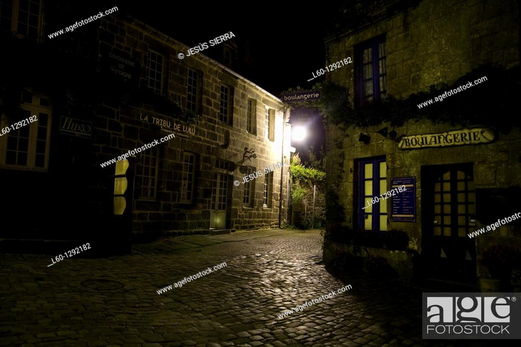 Stock Photo: Night in Locronan, Brittany, France.