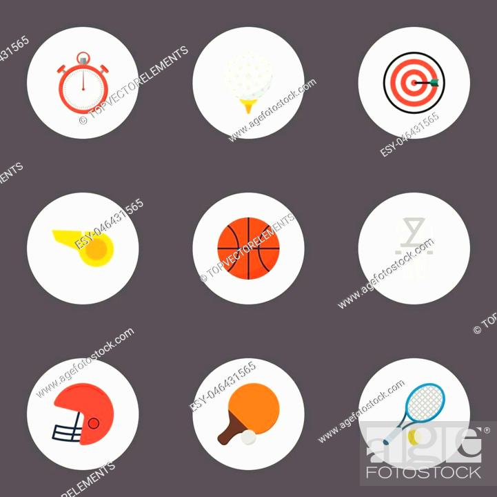 Stock Vector: Flat Icons Uniform, Second Meter, Rugby And Other Vector Elements.