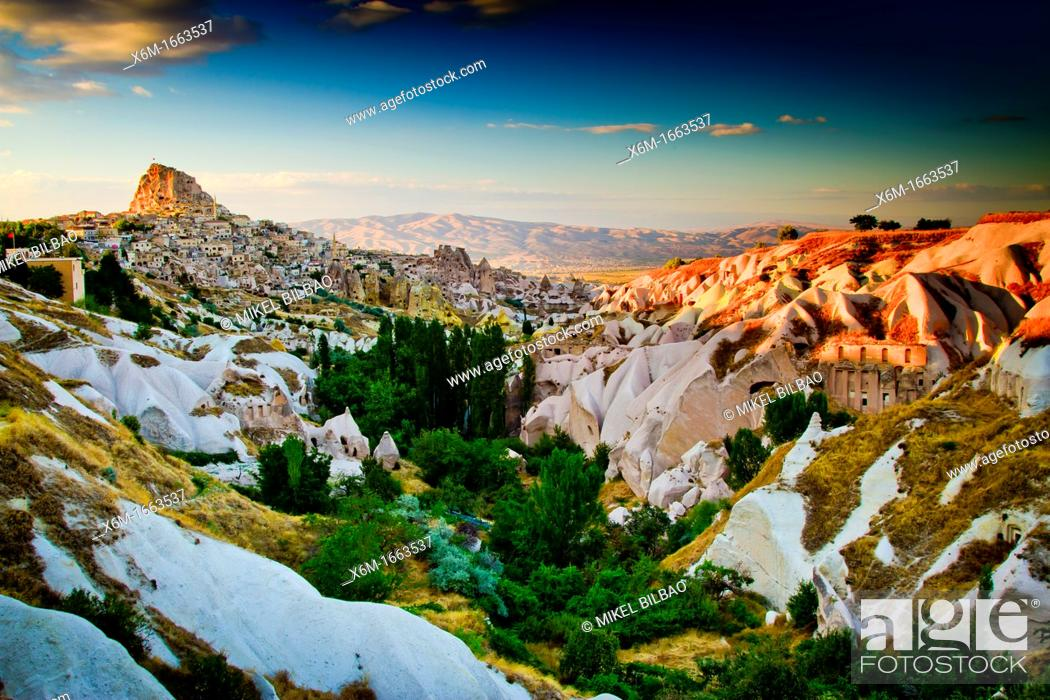 Stock Photo: Uchisar village  Cappadocia Region  Nevsehir province  Turkey.