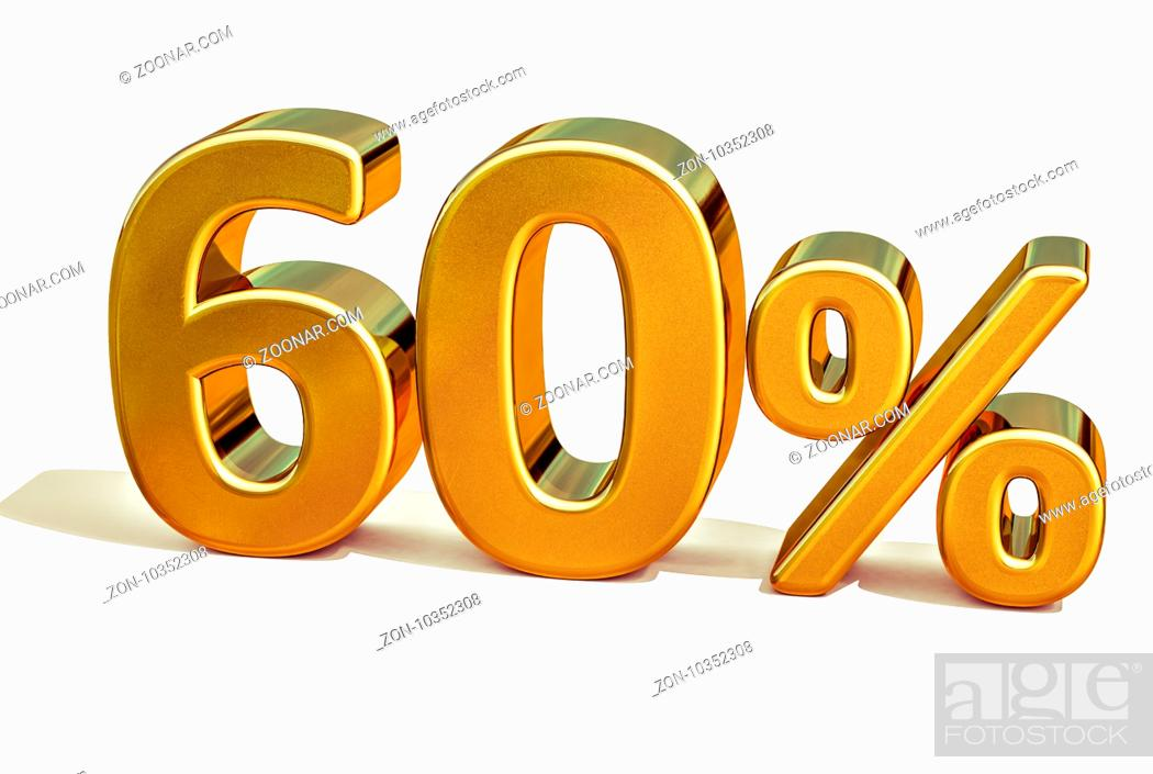 Stock Photo: Gold Sale 60%, Gold Percent Off Discount Sign, Sale Banner Template, Special Offer 60% Off Discount Tag, Golden Sixty Percentages Sign, Gold Sale Symbol.