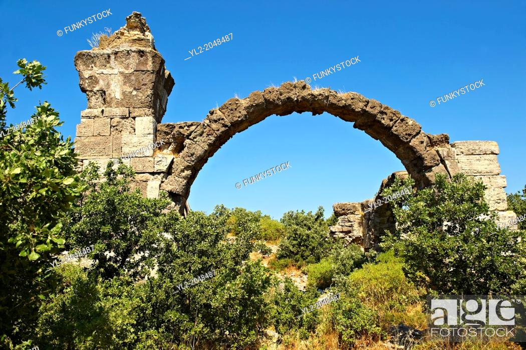 Stock Photo: Ancient Roman bath and gymnasium complex of Alexandria Troas archaeological site, Canakkale, Turkey.