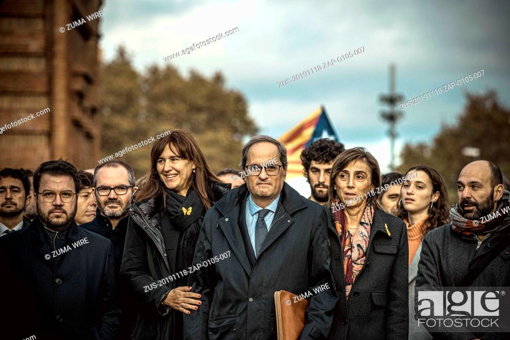 Stock Photo: November 18, 2019, Barcelona, Catalonia, Spain: Catalan president QUIM TORRA arrives at the Catalan High Court of Justice facing allegations over disobedience.