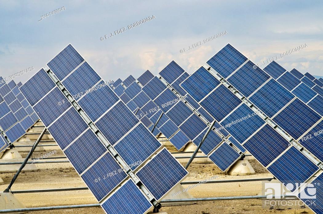 Stock Photo: Solar energy panels in Zuera, Saragossa, Aragon, Spain.