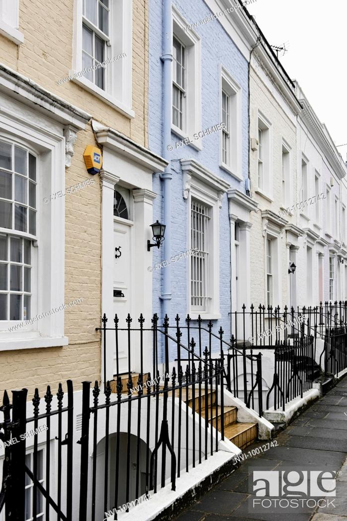 Stock Photo: Single-family homes, residential area, Hillgate Place, Kensington, City of Westminster, London, England, United Kingdom, Europe.