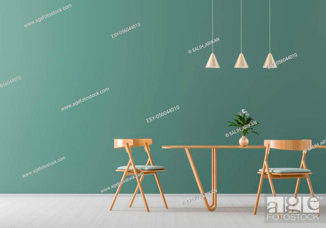 Stock Photo: Spacious modern dining room with wooden chairs and table. Minimalist dining room design. 3D illustration.