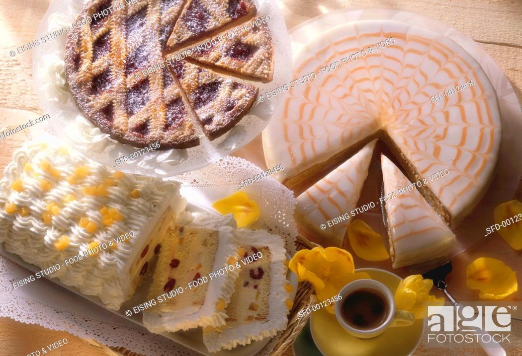 Three Classic Cakes Linzer Tart Zuppa Romana Punch Cake Stock