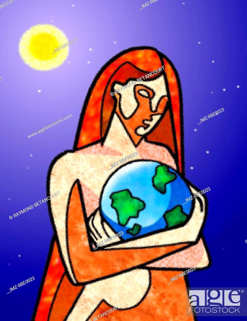 Stock Photo: Woman cradling the earth.