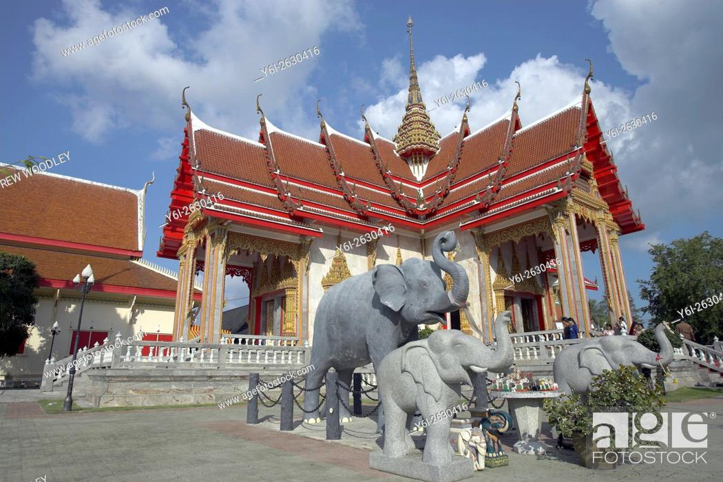 Stock Photo: Sacred elephant figures at Wat Chalong Phuket Thailand.