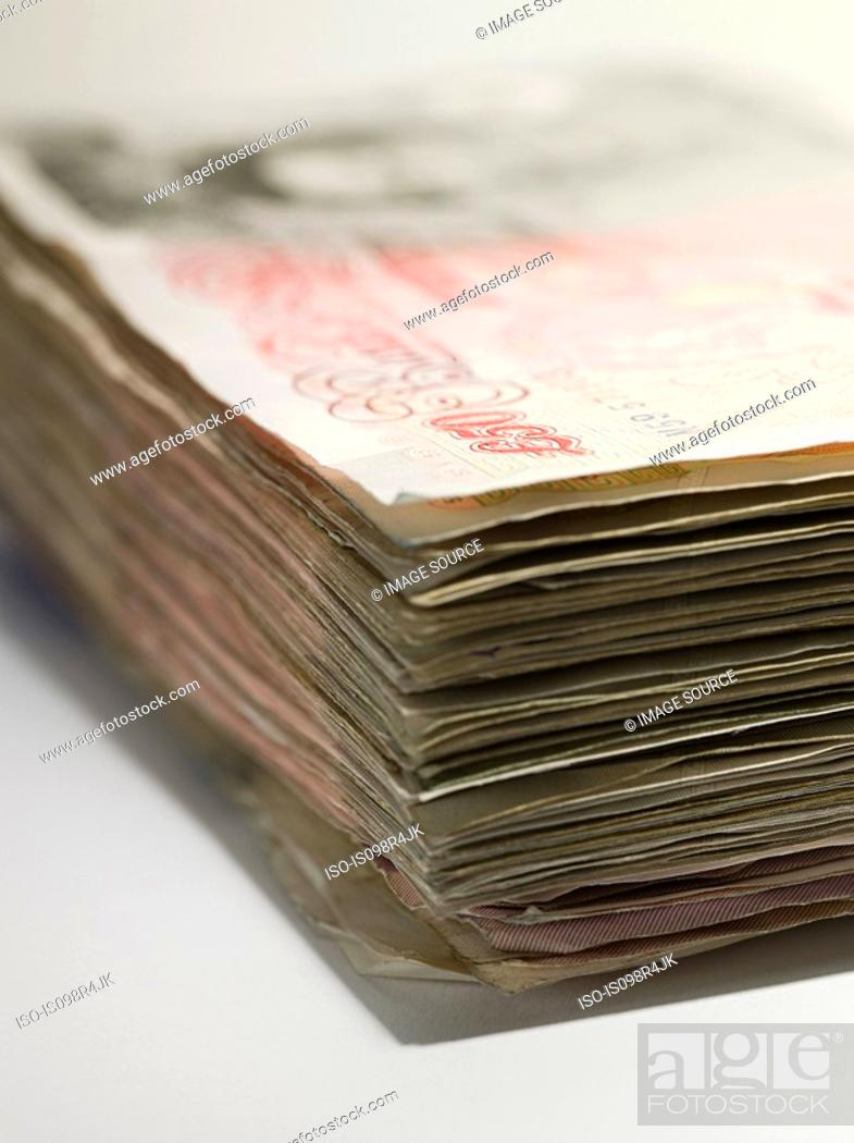 Stock Photo: Fifty pound notes.