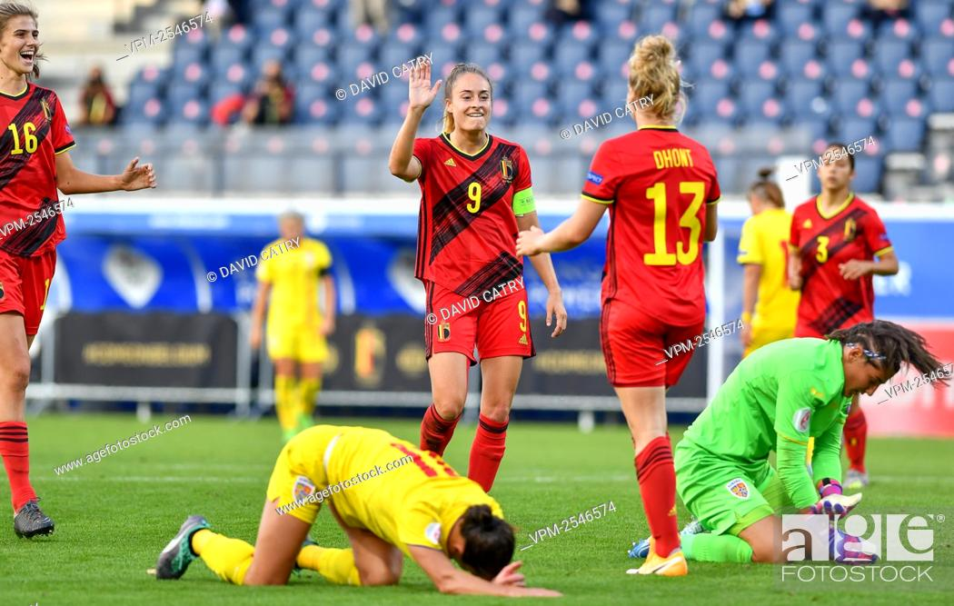 Stock Photo: Belgium's Tessa Wullaert and Belgium's Elena Dhont celebrate after scoring during a soccer game between Belgium's Red Flames and Romania.