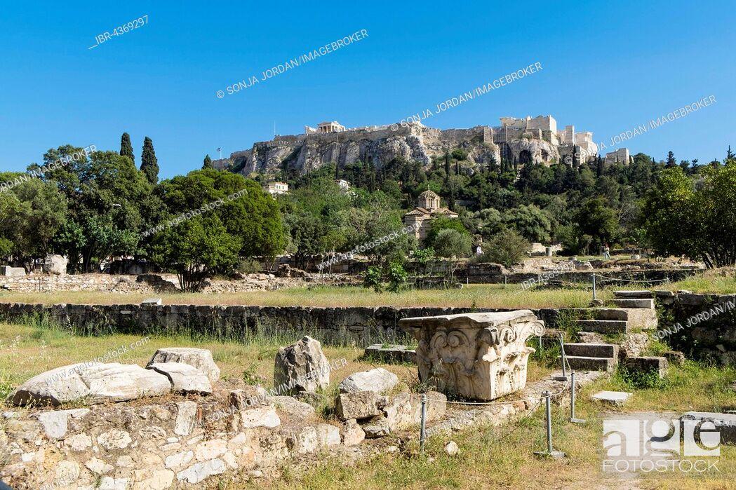 Stock Photo: Ancient Agora, Athens, behind Acropolis, Athens, Greece.