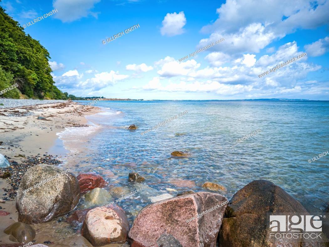 Stock Photo: Beach of Fanefjord Skov at the Southwest side of Moen Island, Denmark, Scandinavia, Europe.