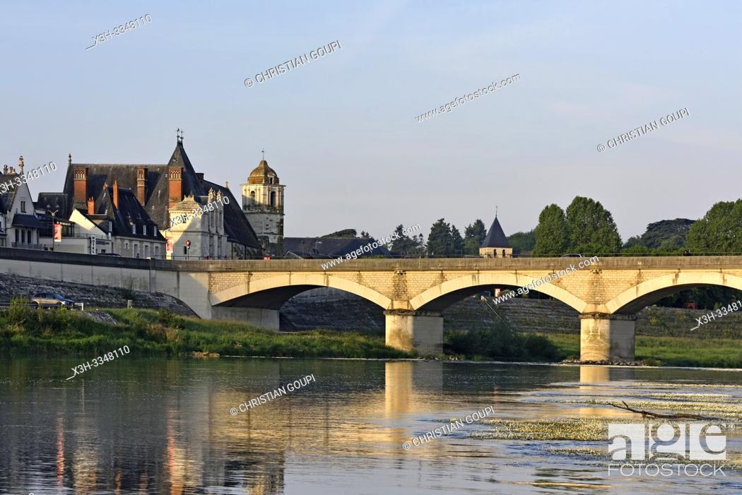 Stock Photo: Bridge Marechal Leclerc over the Loire River at Amboise, Touraine, department of Indre-et-Loire, Centre-Val de Loire region, France, Europe.