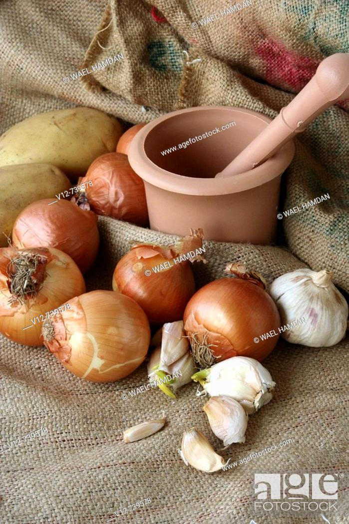 Stock Photo: Onions & garlic on jute Background.