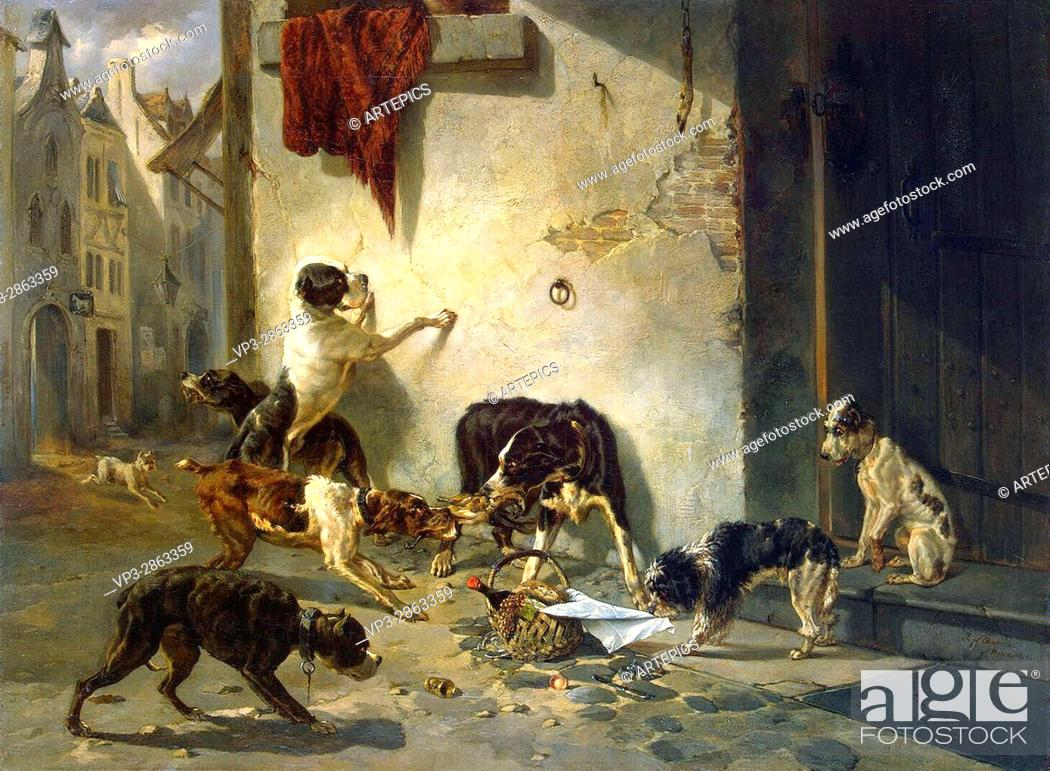 Photo de stock: Joseph Stevens . Dog carrying dinner to its master. 1846 . Hermitage State Museum - St Pétersburg.