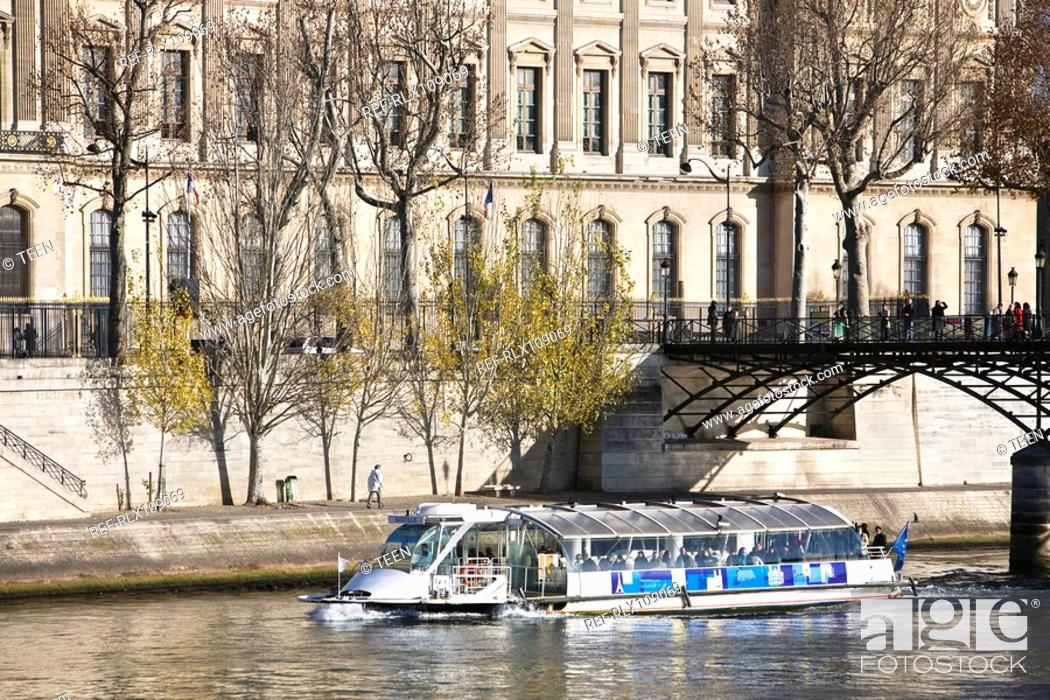 Stock Photo: Tourist boat on river Seine, Paris, France.