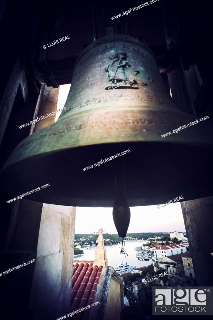 Stock Photo: Bell tower of a church and the view of the city and port. Santa Maria, Mahon, Baleares, Spain, Europe.