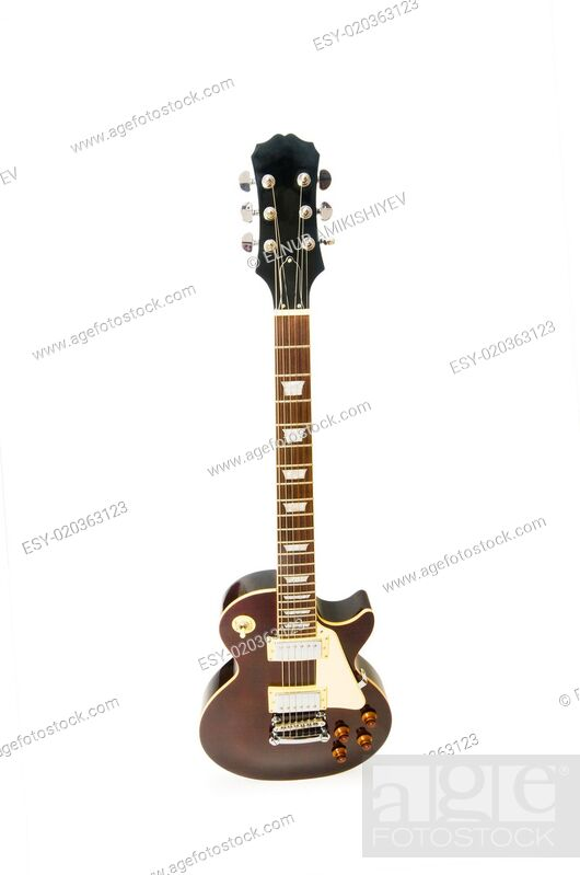Stock Photo: Rock guitar isolated on the white background.