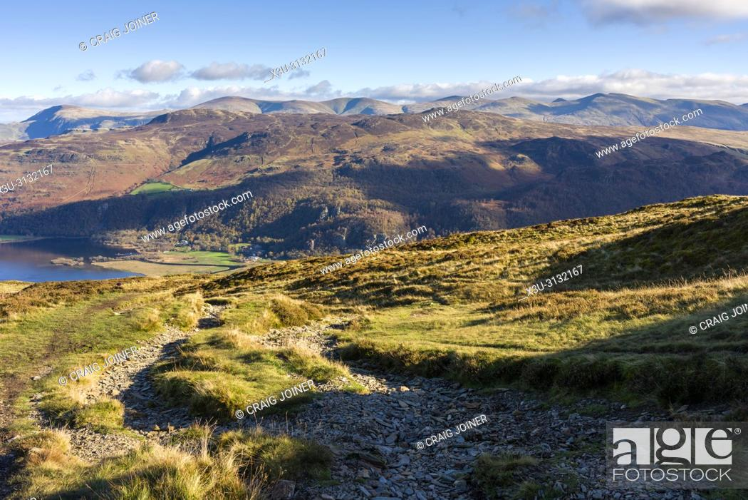 Stock Photo: Maiden Moor with the Borrowdale Valley and Ashness Fell beyond in the Lake District National Park, Cumbria, England.