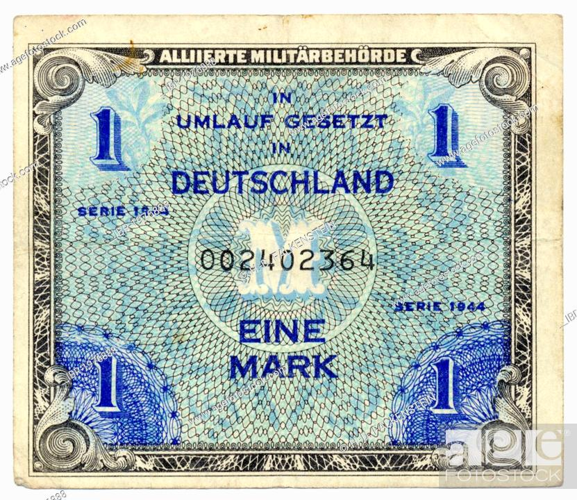 Front of a banknote, Allied Occupation, value 1 Mark, 1944, Germany