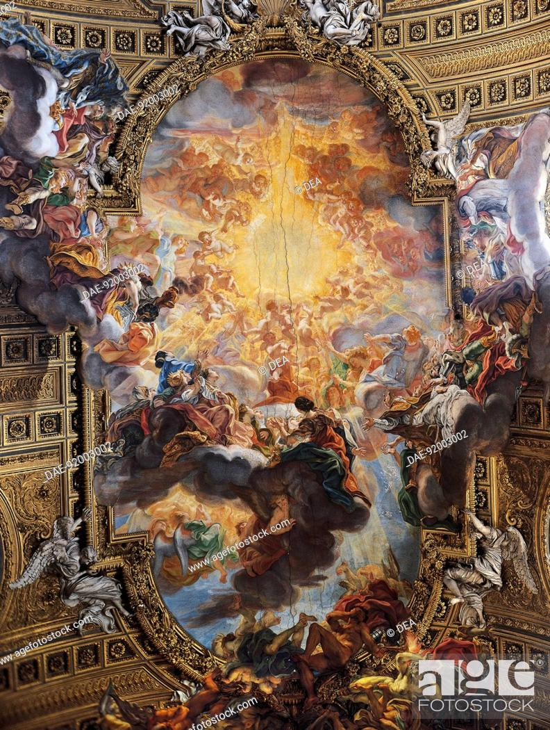 Stock Photo: Triumph of the sacred name of Jesus, fresco by Giovanni Battista Gaulli known as Baciccio (1639-1709), vault of the nave, Church of the Gesu, Rome.