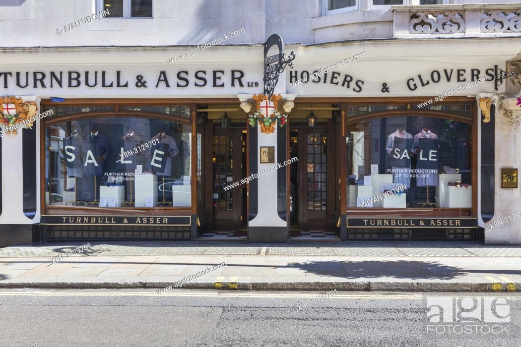 Stock Photo: Turnbull & Asser fashion shop, Jermyn Street, Piccadilly, London, England, UK.