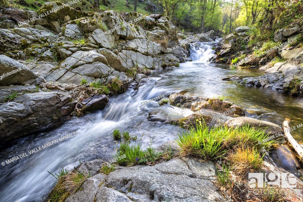 Stock Photo: River Iruelas in spring time. Avila. Spain. Europe.