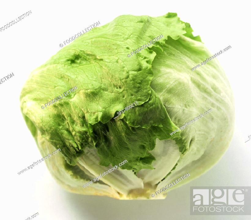 Stock Photo: A Head of Iceberg Lettuce.