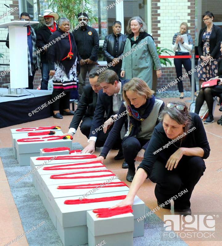 Stock Photo: 15 April 2019, Berlin: Native Australians, Aborigines, and invited guests will participate in the return of the remains of indigenous Australians.